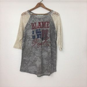Southern Grace Roots N' Boots Gray Lace Shirt 2X
